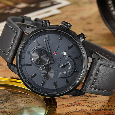 Curren Men's Gray Leather Black Stainless Steel Sports Date Quartz Wrist Watch