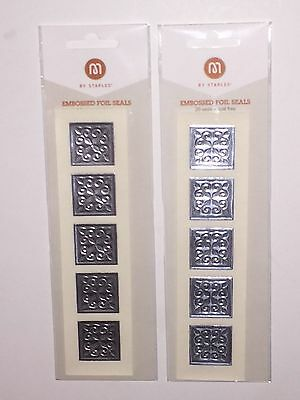 Set of 2 M by Staples Acid Free Embossed Foil Seals, Silver Harlequin, 40 Seals
