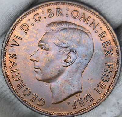 UK British penny George Vl 1950 uncirculated unc very nice coin