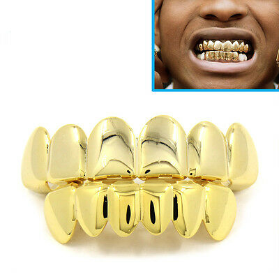 Gold Grillz 24k Plated Teeth Mouth Grills Top Bottom Bling Hip Hop Gangster Rap