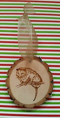 Engraved Rustic Wood with bark Opossum  Christmas Ornament