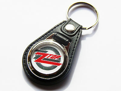 ZZ TOP Classic Blues Rock Band Premium Leather & Chrome Keyring