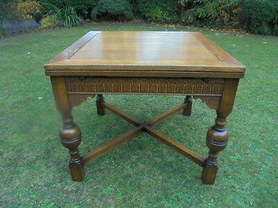 Antique Oak Draw Leaf Extending Dining Table