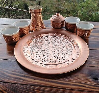 Handmade Authentic Copper Bosnian coffee set for 4 people