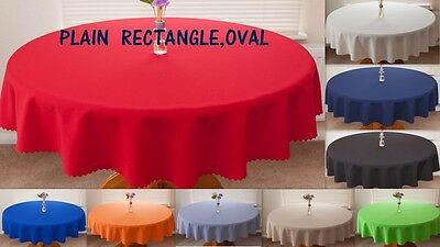 "High Quality Fabric""PLAIN BIG SIZES"" Tablecloth Oval Rectangle"