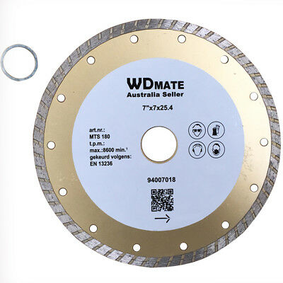 "5x Diamond Cutting Blade180mm 7"" Dry Wet Turbo Disc Saw 25.4/22.23mm HD 94007018"