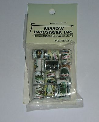 Canned Goods (12 Diff) Metal FA40268-Farrow Industries,Made in U.S.A. 1:12. NEW.