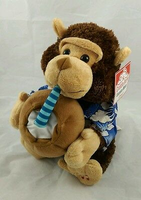 "Cuddle Barn Vacation Monty Plush Stuffed Animal Sing/Drink/Musical ""Pina Colada"""