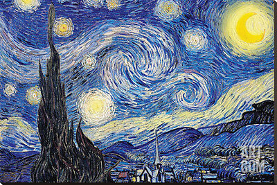 Starry Night, c.1889 Stretched Canvas Print by Vincent van Gogh, 54x36