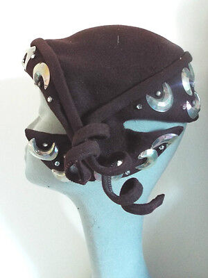 VINTAGE HAT 1930's VERY RARE Brown Wool & Stunning beading Unusual and Fabulous