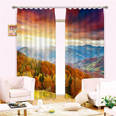 Fragrant Red Leaves 3D Customize Blockout Photo Curtains Print Home Window Decor