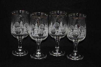 4 Arby's Holiday Christmas Etched Winter Scene Water Wine Stem Glasses Goblet