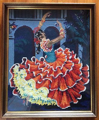 VIntage FLAMENCO Dancer TAPESTRY Framed NEEDLE POINT Picture Wall Hanging RETRO