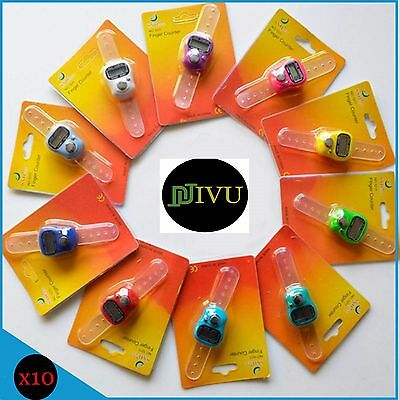 10 X Mini Digit LCD Electronic Digital Golf Finger Hand Held Tally Ring Counter