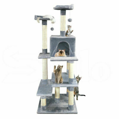 PaWz 1.7M Cat Scratching Post Tree Gym House Condo Furniture Scratcher Grey