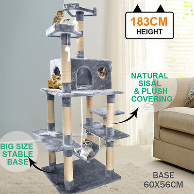 PaWz 1.8M Cat Scratching Post Tree Gym House Condo Furniture Scratcher Grey