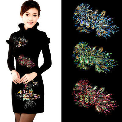 Large Embroidered Peacock Blue Gold Sequins Trimming Floral Lace Applique