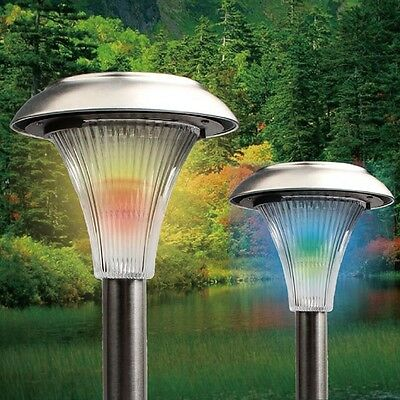 4x Solar Powered Garden Lawn Patio Path Color Changing Stake Post LED Light Lamp