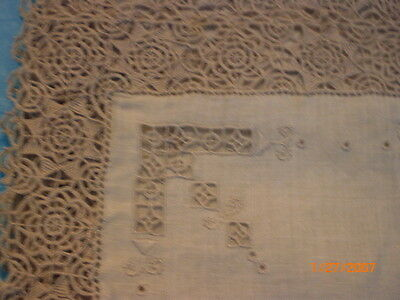 antique linen and lace runner and 8 placemats