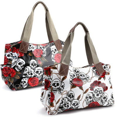 Skull Rose Print Oilcloth Cotton Wrap Handle PU Leather Trim Women Shoulder Bag