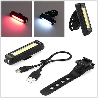 100LM LED USB Rechargeable Head Light Flash Bicycle Bike Tail Safety Lamp~HC