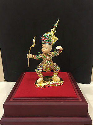 Green Giant Miniature Khon Thai Drama Home Art Ceramics Hand Benjarong Paint