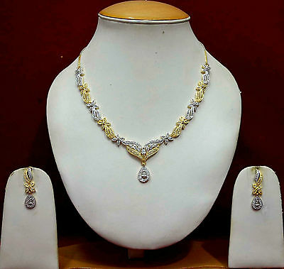 Designer Indian Wedding Necklace Costume Jewellery AD Earrings Gold Sets ADn36