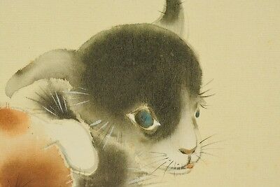 Hanging Scroll Japanese Painting puppy Dog Japan Antique Asian Picture ink a580