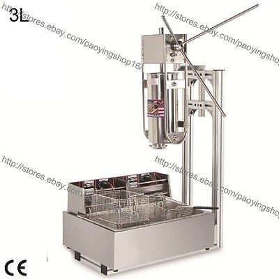 Heavy Duty 3L Vertical Manual Spanish Churro Maker Machine w/ 12L Electric Fryer