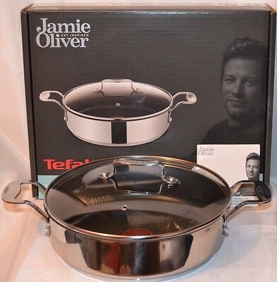 Sale**Jamie Oliver Tefal Shallow pan Casserole Saute 25cm Lid All Hobs Induction