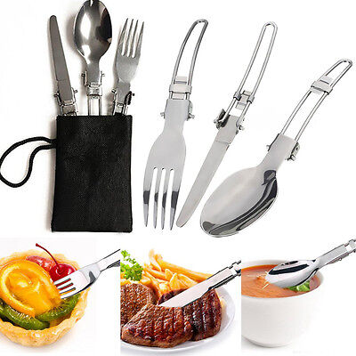 New 3pcs Folding Camping Hiking Picnic Tableware Fork Spoon and Utensil with Bag
