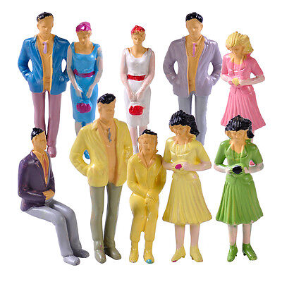 50pcs 1:25 Mix Painted Model Figure Building Layout People Various Poses G Scale