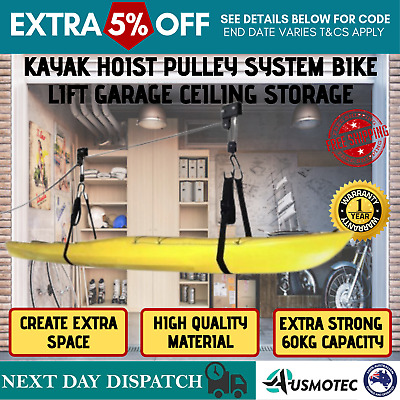 New Kayak Hoist Bike Bicycle Lift Pulley Ceiling With Extra Capacity 60KG