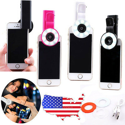 Mini Selfie Fill LED Light Portable Clip Round Ring Flash For iPhone 6 6S 7 Plus