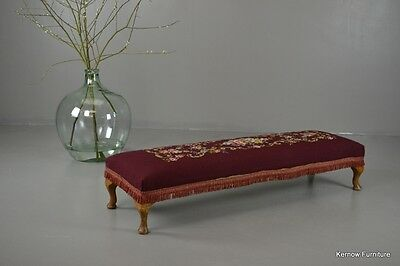 Antique Style Vintage Floral Long Tapestry Footstool