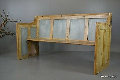 Rustic Early 20th Century Stripped & Painted Pine Pew Bench Settle
