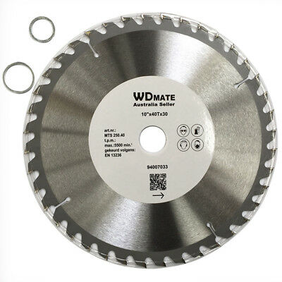 "3x Wood Cutting Disc 10"" 250mm 40T TCT Circular Saw Blade Wheel Timber 94007033"