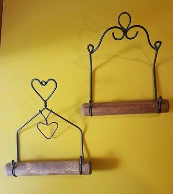 Antique toilet paper holders, metal and wood