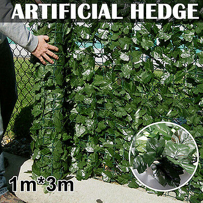 Artificial Ivy Hedge Screening 3m x 1m roll Cover Fence Wall Garden Green Leaf