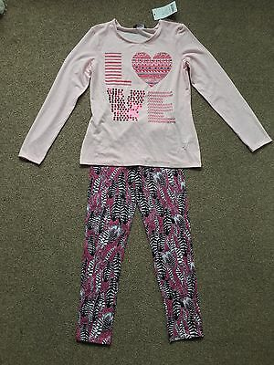 Girls 2 Piece Set Outfit Bundle - Leggings & T Shirt - Aged 10-11 Years - BNWT