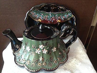 Antique Victorian 19th Century Jackfield Teapot & Base Hand painted