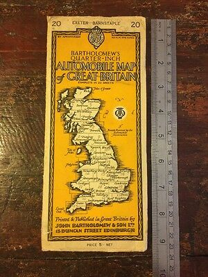 Bartholomews 1/4 inch Map No 20 EXETER & BARNSTAPLE - 1920s Antique Map