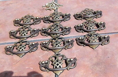 Set of 10 Antiqued Brass Chippendale Style Drawer Handles by Keeler Brass Co