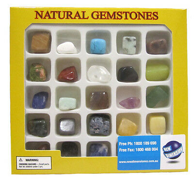 Natural Gemstones Science Kit 25 Different Gems Homeschool Kids Teacher Resource