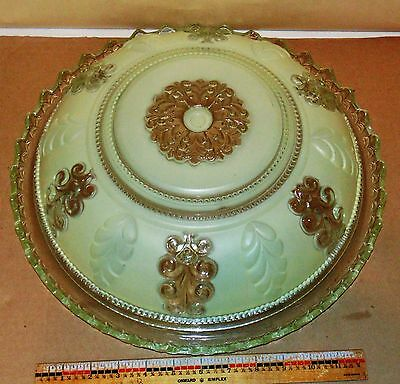 Vintage Ceiling Light Shade (3) Chain Frosted Floral 16 Inch - Art Deco
