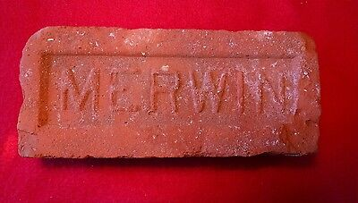 """Vintage Antique Red Clay Brick From """"the Merwin Brick Company"""". Est. Merwin Pola"""