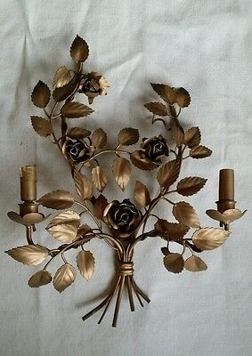 Vintage Gold Italian Tole Roses Wall Lamp Candle Sconce Shabby Hollywood Regency