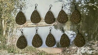 Pack of 10 x 2.5oz Flat pear textured camo brown leads Carp/Coarse fishing
