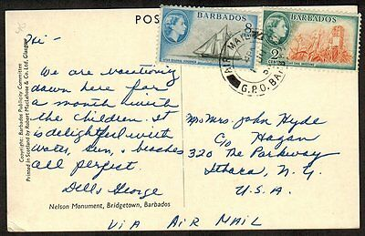 Barbados 1956 QEII 10¢ interational airmail postcard rate mailed to USA VF
