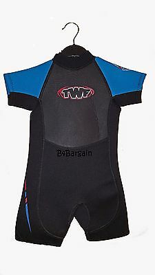 Childs TWF 2.5mm Shorty Wet Suit Childrens Kids Shortie Wetsuit - Various Sizes